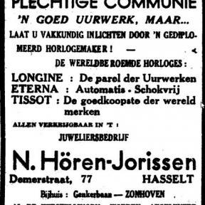 """Advertentie 'Juweliersbedrijf N. Hören-Jorissen"""", Demerstraat 77. Bijhuis: Genkerbaan, Zonhoven (uit: Het Belang van Limburg, 22-04-1951, p. 9)"""