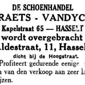 Advertentie 'Schoenhandel Praets verhuist naar Aldestraat 11', Kapelstraat 57 (uit: Het Belang van Limburg, 19-03-1936, p. 7)
