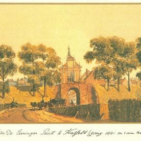 Pentekening 'Gezicht van De Curinger Poort te Hasselt', 1831, Theodoor Gevers van Endegeest (1793-1877)