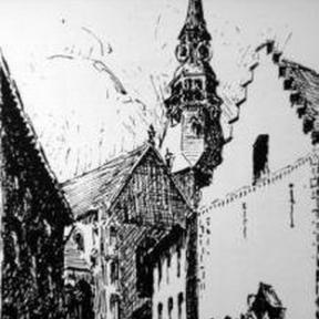 De doorgang (nu Botermarkt) van de Zuivelmarkt naar de Fruitmarkt met op de achtergrond de statige toren van de Sint-Quintinuskathedraal. Rechts het (nu verdwenen) pand Het Schoentje. Pentekening, 1890, Paul Bamps (1862-1932) (privéverzameling)