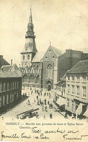 Marché aux pommes de terre et Eglise Saint-Quentin (prentbriefkaart nr. 1037 - collectie Stadsarchief Hasselt)