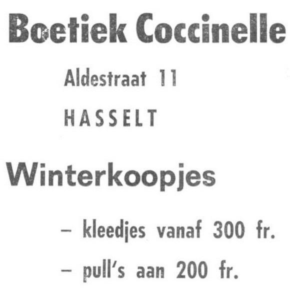 Advertentie 'Boetiek Coccinelle', Aldestraat 11 (uit: Het Belang van Limburg, 03-11-1973, p. 28)
