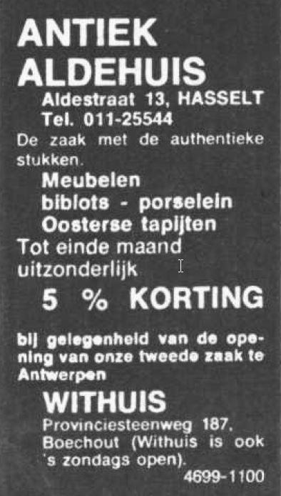Advertentie 'Antiek Aldehuis', Aldestraat 13 (uit: Het Belang van Limburg, 13-04-1974, p. 12)