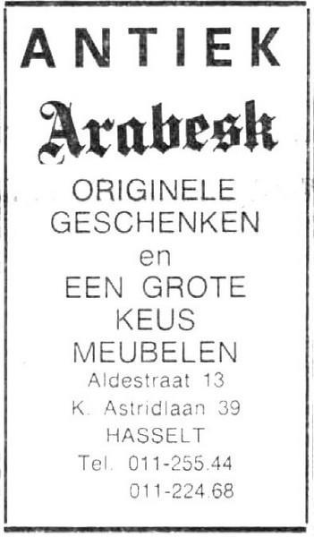 Advertentie 'Antiek Arabesk', Aldestraat 13 - Koningin Astridlaan 39 (uit: Het Belang van Limburg, 16-12-1972, p. 11)