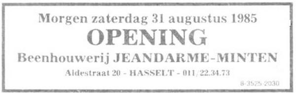 Advertentie 'Beenhouwerij Jeandarme-Minten, Aldestraat 20' (uit: Het Belang van Limburg, 30-08-1985, p. 1)