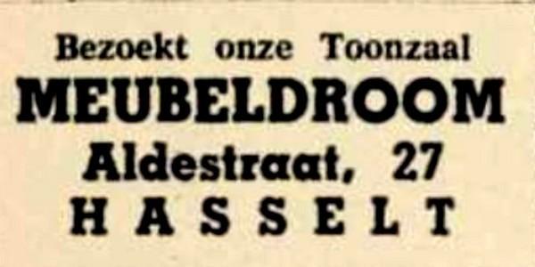 Advertentie 'Toonzaal Meubeldroom', Aldestraat 27 (uit: Het Belang van Limburg, 21-09-1959, p. 4)