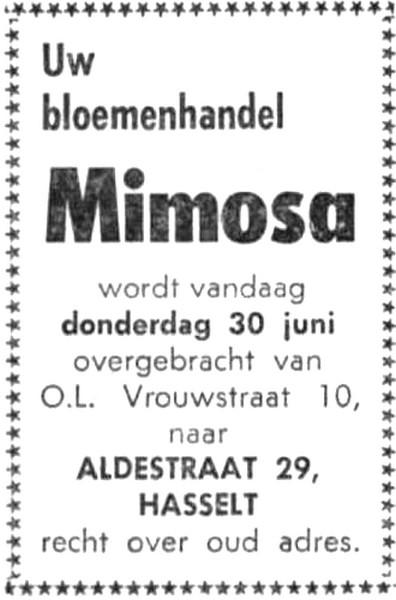 Advertentie 'Bloemenhandel Mimosa', Aldestraat 29 - voorheen Onze-Lieve-Vrouwstraat 10 (uit: Het Belang van Limburg, 30-06-1966, p. 6)