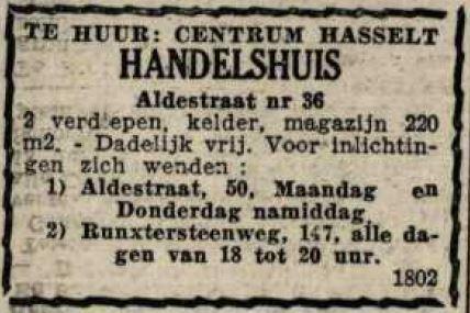 Advertentie 'Te huur - Aldestraat 36' (uit: Het Belang van Limburg, 28-02-1953, p. 10)