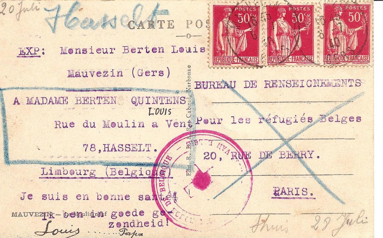 Postkaart die Louis Berten naar huis verstuurde als oorlogsvluchteling in 1940, verso (uit: privécollectie)