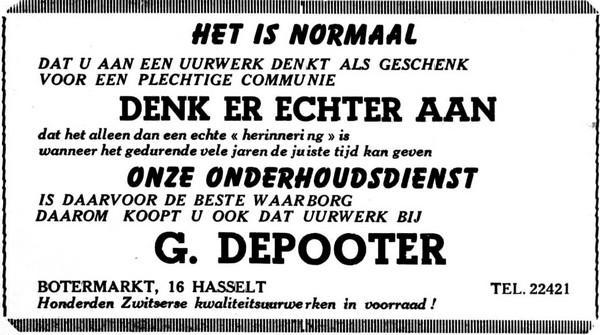 Advertentie 'G. Depooter, Botermarkt 16' (uit: Het belang van Limburg, 14-04-1955, p. 10)