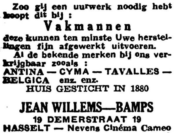 Advertentie 'Huis Jean Willems-Bamps', Demerstraat 19 (uit: Het Belang van Limburg, 05-04-1947, p. 8)