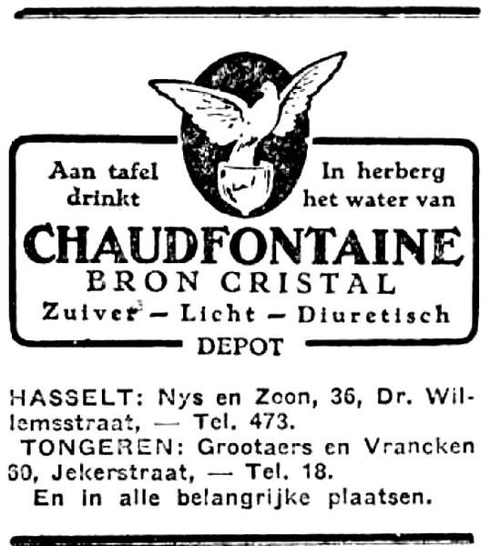 Advertentie 'Depot Nys & Zoon', Dokter Willemsstraat 36 (uit: Het Belang van Limburg, 17-06-1933, p. 2)