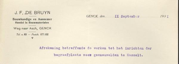 Briefhoofd 'J.F. De Bruyn, Genck' (Stadsarchief Hasselt)