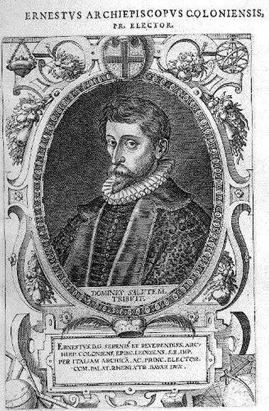 Portret prins-bisschop Ernest van Beieren, 1600-1602, kopergravure, Dominicus Custos (Antwerpen 1560-Augsburg 1612) (uit: Wikipedia)
