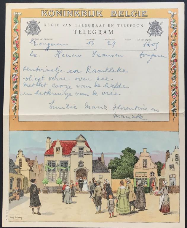 Fam. Henno, Congo, telegram (foto: privécollectie)