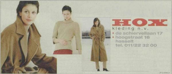 Advertentrie 'Hox Kleding', Aldestraat 16 - de Schiervellaan 17 (uit: Het Belang van Limburg, 06-10-2001, p. 12)