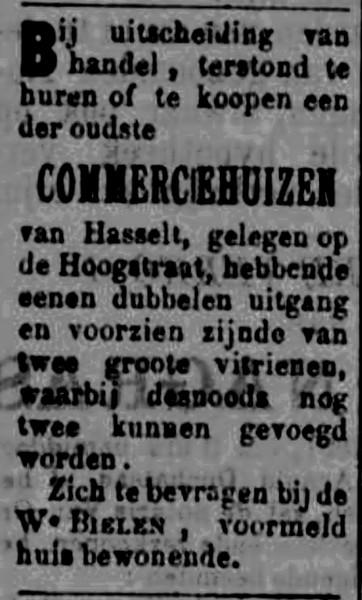 Advertentie De Witte Valck, Hoogstraat 'te huur of te koop' (uit: De Huisbode, 27-06-1891)