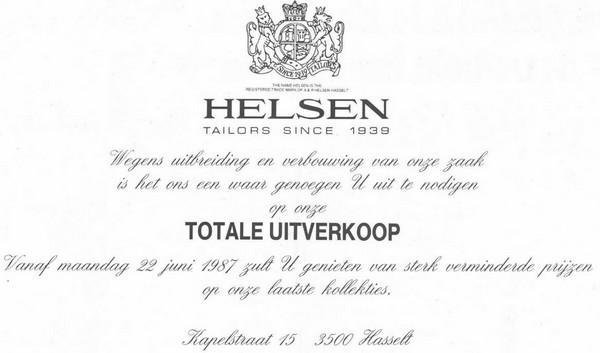 Advertentie 'Helsen Tailors', Kapelstraat 15 (uit: Het Belang van Limburg, 22-06-1987, p. 5)