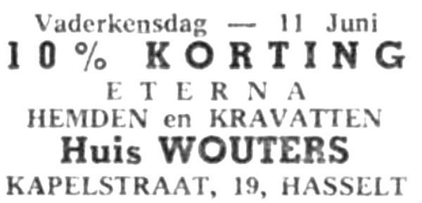 Advertentie 'Huis Wouters', Kapelstraat 19 (uit: Het Belang van Limburg, 03-06-1961, p. 22)
