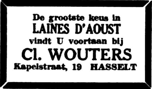 Advertentie 'Cl. Wouters', Kapelstraat 19 (uit: Het Belang van Limburg, 10-05-1956, p. 4)