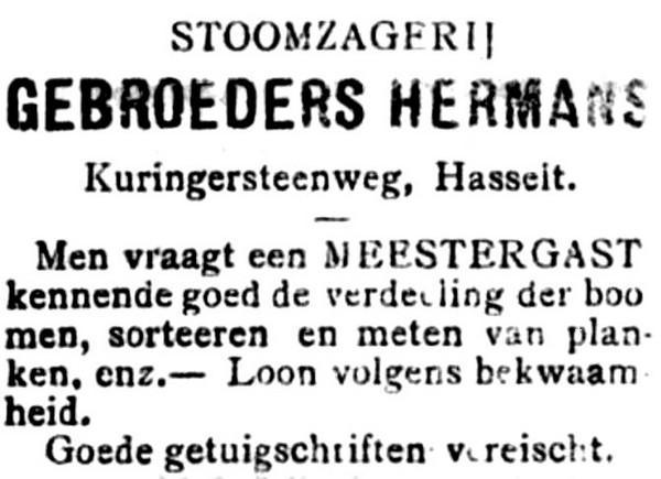 Advertentie 'Stoomzagerij Gebroeders Hermans', Kuringersteenweg (uit: Het Algemeen Belang der Provincie Limburg, 28-07-1904, p. 4)