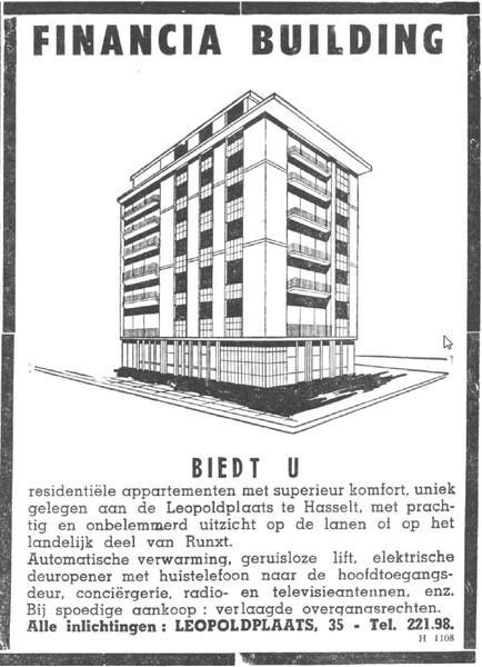 Advertentie 'Financia Building - inlichtingen Leopoldplaats 35', Leopoldplaats 50 (uit: Het Belang van Limburg, 28-07-1962, p. 9)