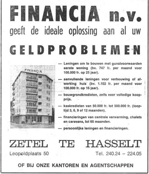 Advertentie 'Financia n.v. Zetel te Hasselt', Leopoldplaats 50 (uit: Het Belang van Limburg, 29-11-1968, p. 22)