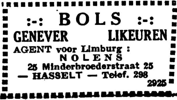 Advertentie 'Jenever-Likeuren Nolens, Minderbroedersstraat 25' (uit: Het Belang van Limburg, 20-10-1946, p. 14)