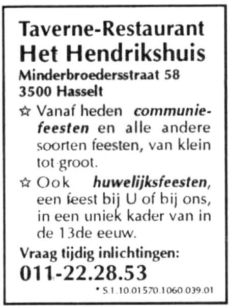 Advertentie 'Taverne-Restaurant Het Hendrikshuis', Minderbroedersstraat 58 (uit: Het Belang van Limburg, 11-01-1995, p. 15)