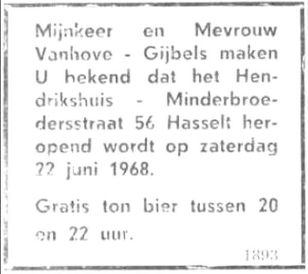 Advertentie 'Heropening Hendrikshuis', Minderbroedersstraat 56 (uit: Het Belang van Limburg, 21-06-1968, p. 7)