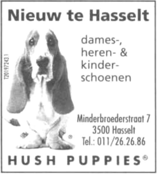 Advertentie 'Schoenen Hush Puppies', Minderbroedersstraat 7 (uit: Het Belang van Limburg, 04-05-2002, p. 1)