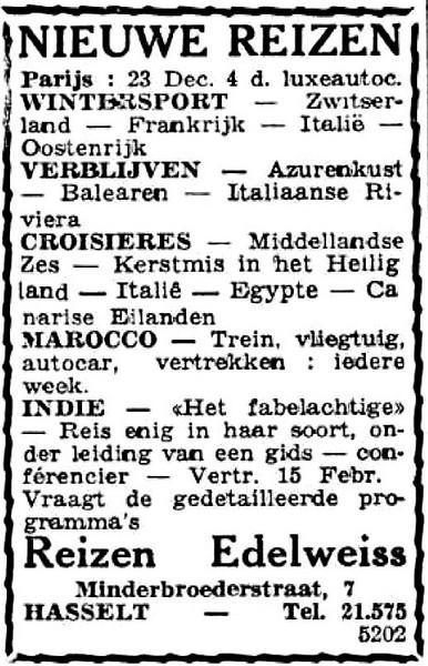 Advertentie 'Reizen Edelweiss', Minderbroedersstraat 7 (uit: Het Belang van Limburg, 17-12-1950, p 4)