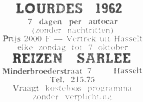 Advertentie 'Reizen Sarlée', Minderbroedersstraat 7 (uit: Het Belang van Limburg, 10-06-1962, p. 6)