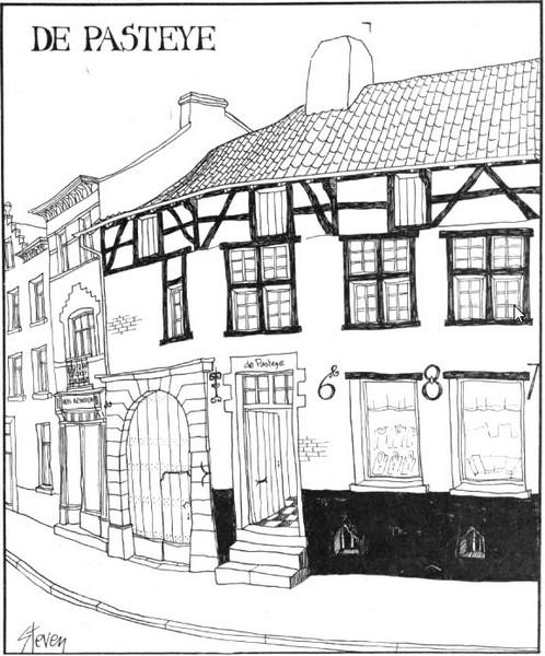 De Pasteye ontsnapte ook niet aan de aandacht van de vaardige tekenpen van «Steven» Wilsens, die man die bij de N.V. Concentra zopas zijn vijfde «Kastelenboek» (Oost-Vlaanderen) voltooide. (uit: De Pasteye: «Mooiste huis van Hasselt» (1977))