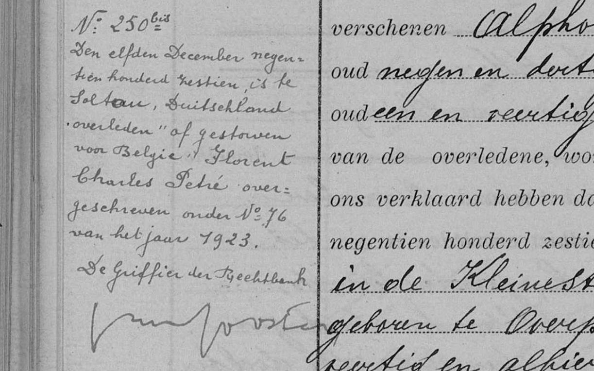 Annotatie over overlijden Florent Pétré (1866-1916) (uit: register burgerlijke stand Hasselt, 11 december 1916, akte overgeschreven onder nr. 76 van het jaar 1923)