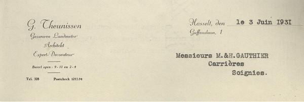 Brief(hoofd) 'G. Theunissen' aan 'Messieurs M. & H. Gauthier, Carrières, Soignies' (Stadsarchief Hasselt)