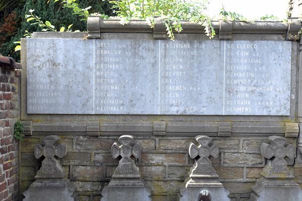 Gedenkwand (linkerdeel) Ereperk oud-strijders 1914-1918 (Oud Kerkhof, Kempische Steenweg) (foto: Annemie America, 2014)