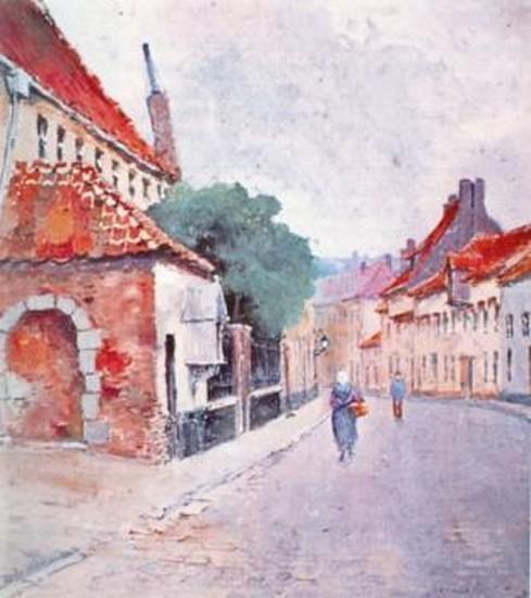 Gezicht op de Minderbroedersstraat; links het minderbroederklooster, gouache van P.M. Bamps, 1890 (collectie Het Stadsmus Hasselt)