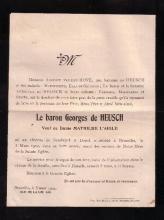 Doodsbrief 'Baron Georges de Heusch' (+Brussel 1902), weduwnaar van Mathilde L'Aigle, begraven Oud Kerkhof Hasselt