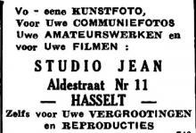 Advertentie 'Studio Jean', Aldestraat 11 (uit: Het Belang van Limburg, 23-03-1946, p. 14)