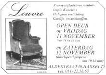 Advertentie 'Franse stijlzetels e.a. Louvre', Aldestraat 40 (uit: Het Belang van Limburg, 10-11-1983, p. 7)