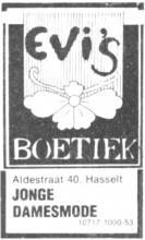 Advertentie 'Evi's Boetiek', Aldestraat 40 (uit: Het Belang van Limburg, 12-11-1976, p. 35)