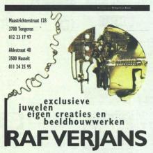 Advertentie 'Raf Verjans', Aldestraat 40 (uit: Het Belang van Limburg, 02-05-1998, p. 56)