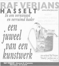 Advertentie 'Raf Verjans', Aldestraat 40 (uit: Het Belang van Limburg, 02-12-2000, p. 13)