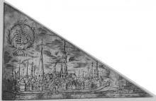 Afdruk van 17de-eeuws bedevaartvaantje van Onze-Lieve-Vrouw Virga Jesse, waarvan de originele drukplaten in Het Stadsmus Hasselt bewaard worden.