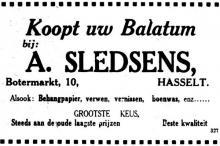Advertentie 'A. Sledsens', Botermarkt 10 (uit: Het Belang van Limburg, 07-04-1935, p. 8)