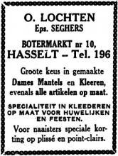 Advertentie 'Damesmode O. Lochten', Botermarkt 10 (uit: Het Belang van Limburg, 10-10-1936, p. 6)