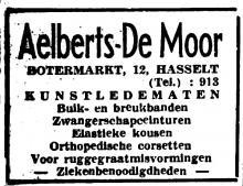 Advertentie 'Aelberts-De Moor', Botermarkt 12 (uit: Het Belang van Limburg, 07-08-1937, p. 2)