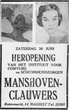 Advertentie 'Heropening Manshoven-Clauwers', Botermarkt 14 (uit: Het Belang van Limburg, 30-06-1956, p. 12)