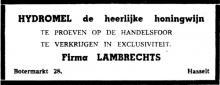 Advertentie 'Firma Lambrechts', Botermarkt 28 (uit: Het Belang van Limburg, 23-05-1960, p. 7)